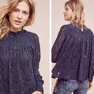 Anthropologie Deletta Amanna Lace Top Navy Blue